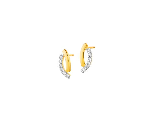 14ct Rhodium-Plated Yellow Gold Earrings with Cubic Zirconia