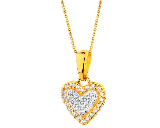 14ct Rhodium-Plated Yellow Gold Pendant with Cubic Zirconia