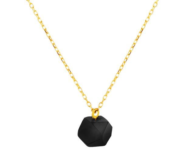 Yellow Gold Necklace with Synthetic Onyx