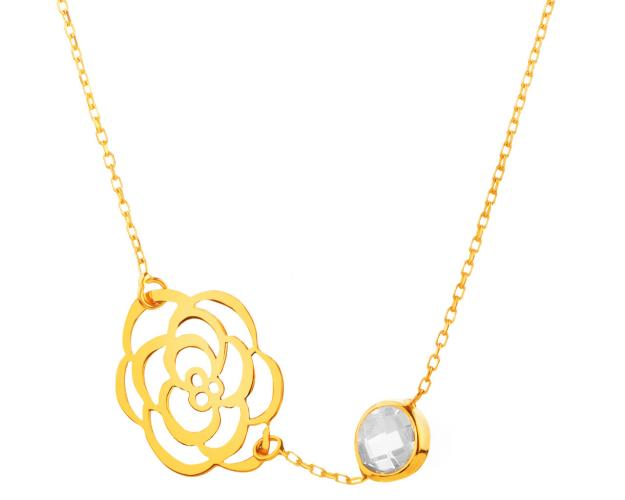 14ct Yellow Gold Necklace with Cubic Zirconia