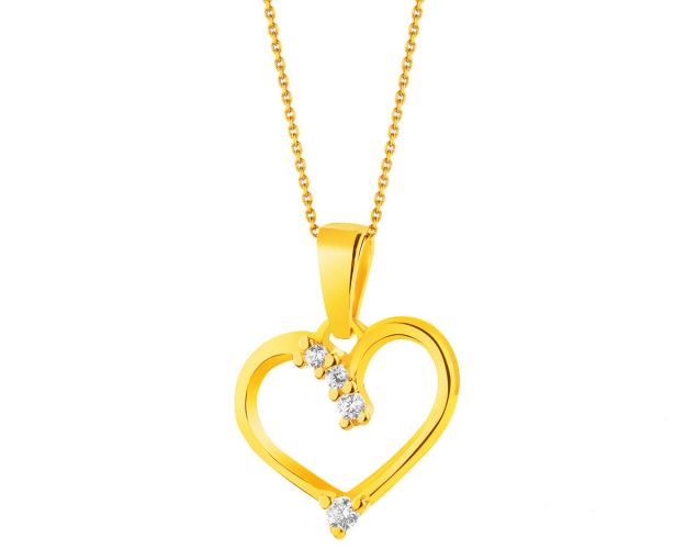 8ct Yellow Gold Pendant with Cubic Zirconia
