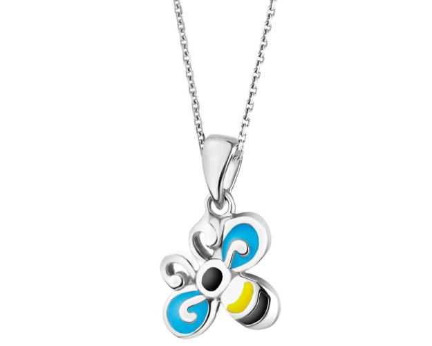 Sterling Silver Pendant with Enamel - Bee