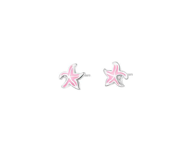 Sterling Silver Earrings with Enamel & Cubic Zirconia - Starfish