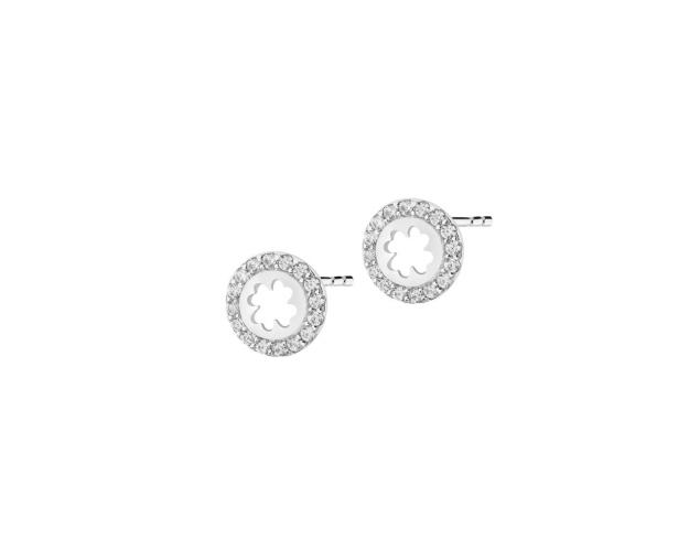 Sterling Silver Earrings with Cubic Zirconia - Clover