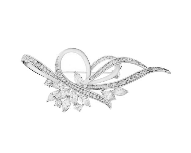 Sterling Silver Brooch with Cubic Zirconia