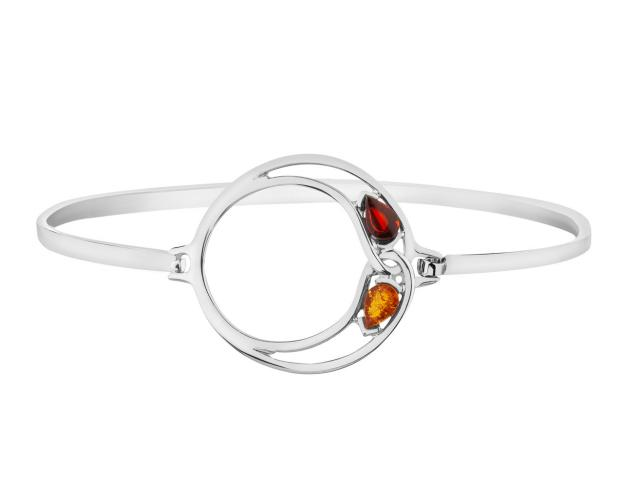 Sterling Silver Bangle with Amber