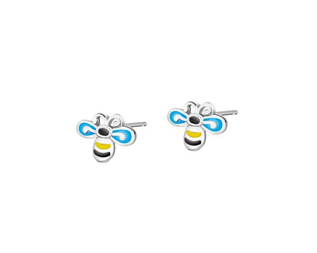 Rhodium Plated Silver Earrings - Bees
