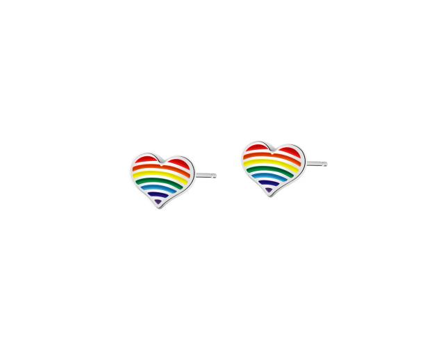Rhodium Plated Silver Earrings with Enamel - Heart