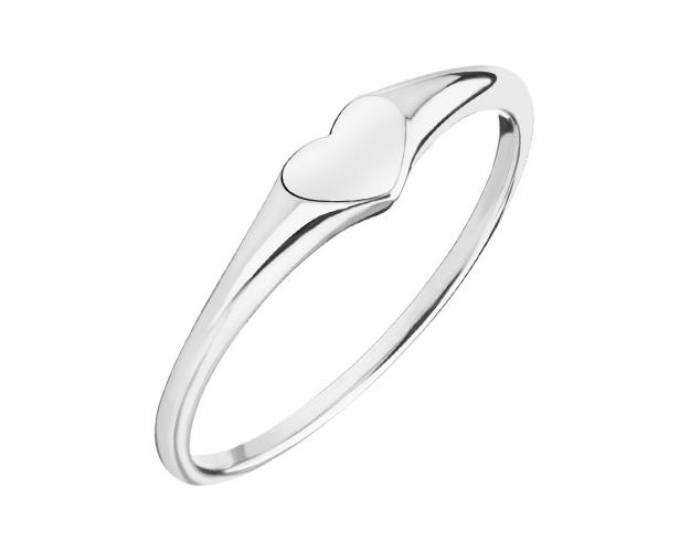 Rhodium Plated Silver Ring - Heart