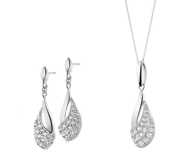 Sterling Silver Earrings, Pendant & Chain - Set