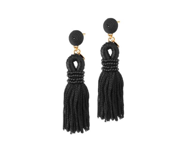 Gold Plated Tassel & Glass Earrings