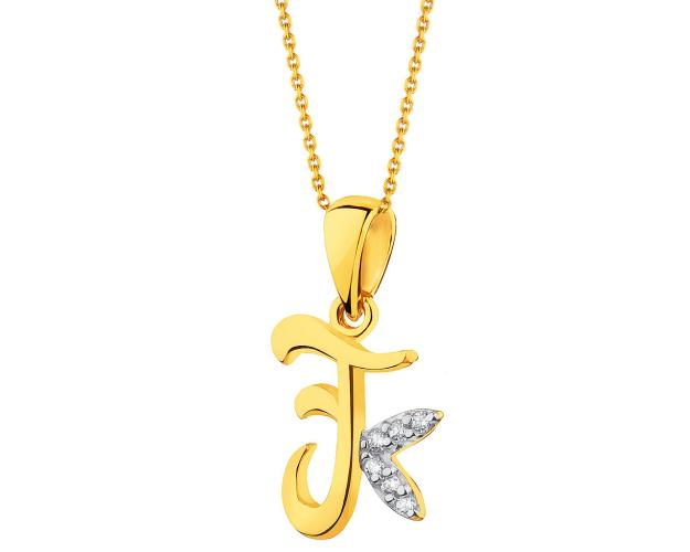 8ct Rhodium-Plated Yellow Gold Pendant with Cubic Zirconia