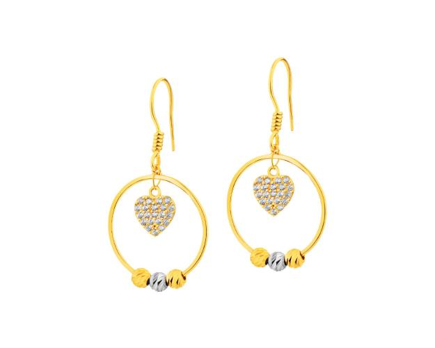 14ct Yellow Gold, White Gold Earrings with Cubic Zirconia