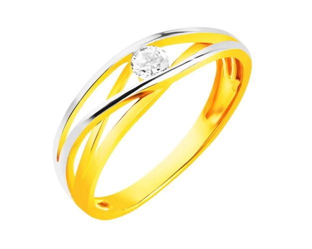8ct Yellow Gold, White Gold Ring with Cubic Zirconia
