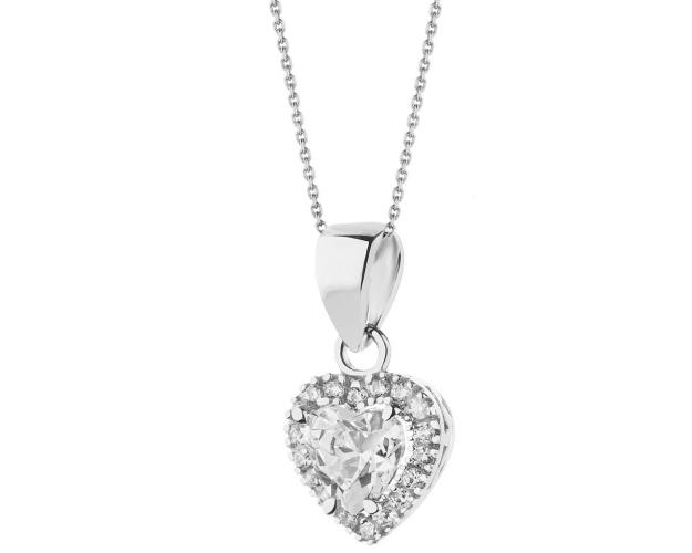 9ct White Gold Pendant with Cubic Zirconia