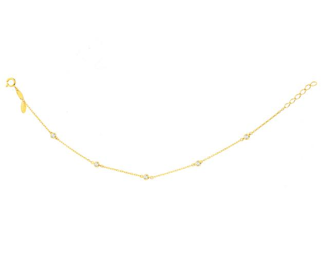 14ct Yellow Gold Bracelet with Cubic Zirconia
