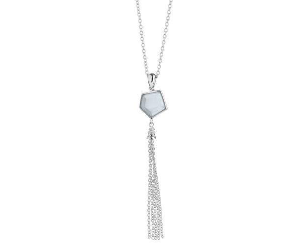 Rhodium-Plated Brass Necklace with Cat's Eye Effect Gemstone