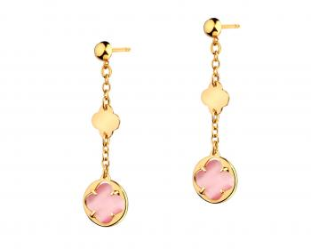 Gold-Plated Bronze Earrings with Glass