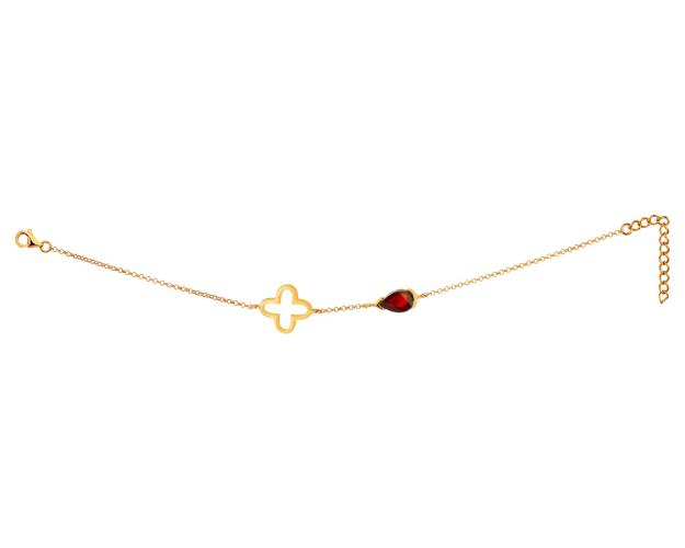 Gold-Plated Silver Bracelet with Amber