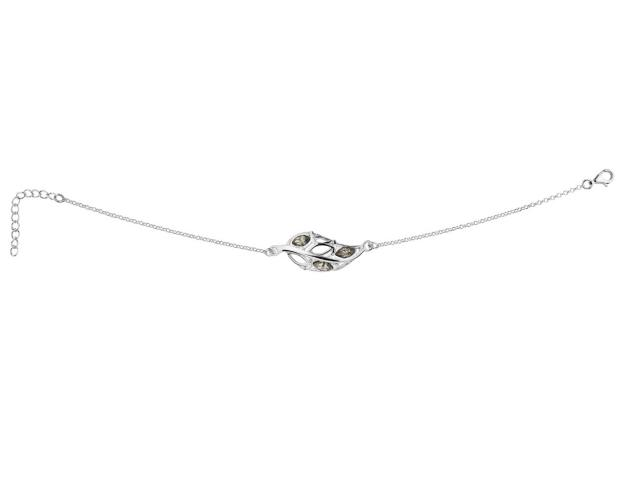 Rhodium Plated Silver Bracelet with Crystal