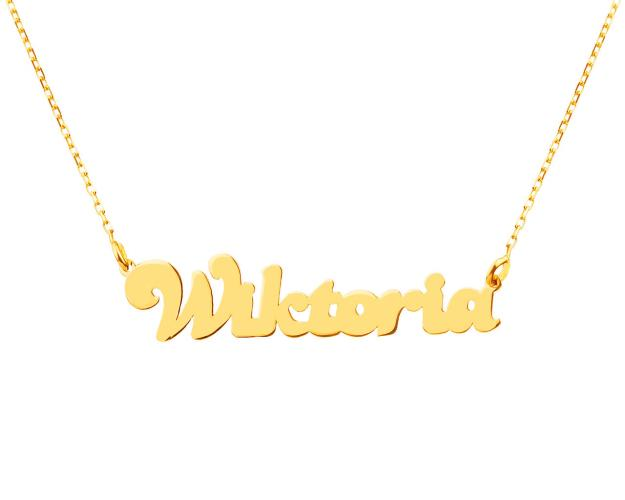 8ct Yellow Gold Name Necklace - Wiktoria