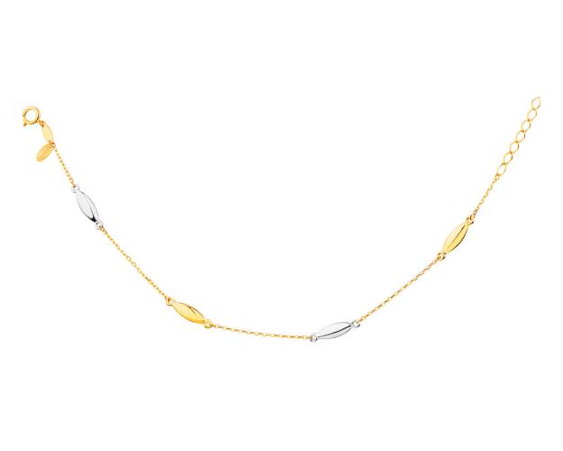 14ct Rhodium-Plated Yellow Gold Bracelet
