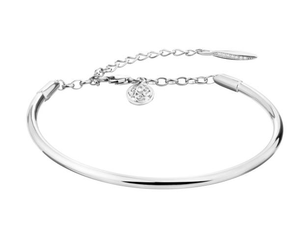 Sterling Silver Bangle with Cubic Zirconia