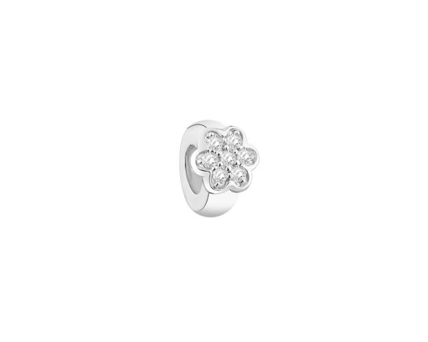 Sterling Silver Beads Pendant with Cubic Zirconia - Stopper - Flower
