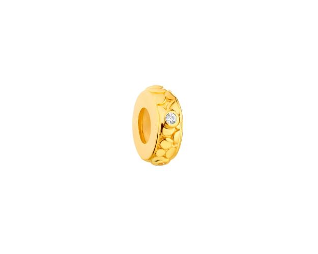 Gold-Plated Silver Stopper Bead with Cubic Zirconia