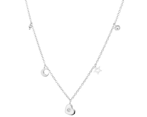 Sterling Silver Necklace with Cubic Zirconia - Heart, Star, Moon