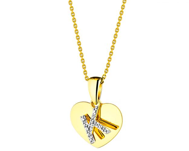 Yellow Gold Diamond Pendant - Heart, Letter K