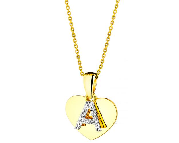 Yellow Gold Diamond Pendant - Heart, Letter A