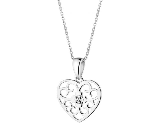 White Gold Diamond Pendant - Heart