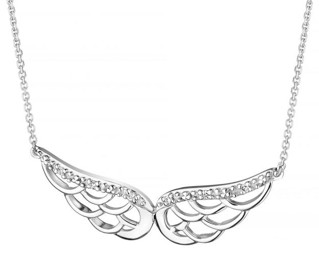 White Gold Diamond Necklace - Angel Wings