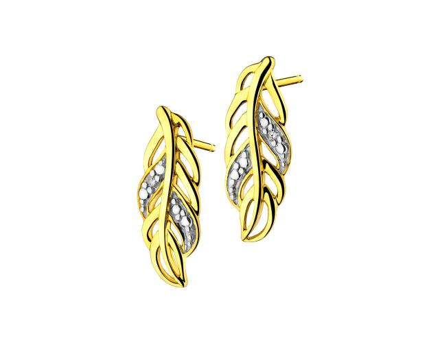 Pendientes de Oro Amarillo con Diamantees