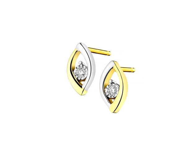 Yellow & White Gold Diamond Earrings