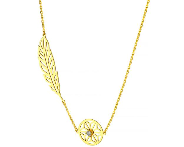 Yellow & White Gold Diamond Necklace - Feather