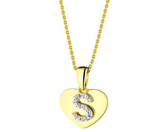 Yellow Gold Diamond Pendant - Heart, Letter S