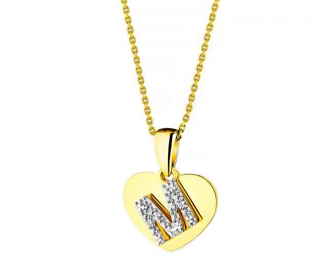 Yellow Gold Diamond Pendant - Heart, Letter M