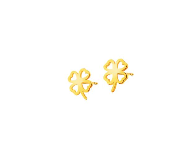 Yellow Gold Earrings - Clover