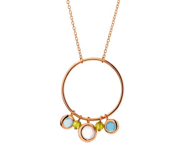 Gold Plated Brass Necklace with Quartz, Chalcedony, Crystal