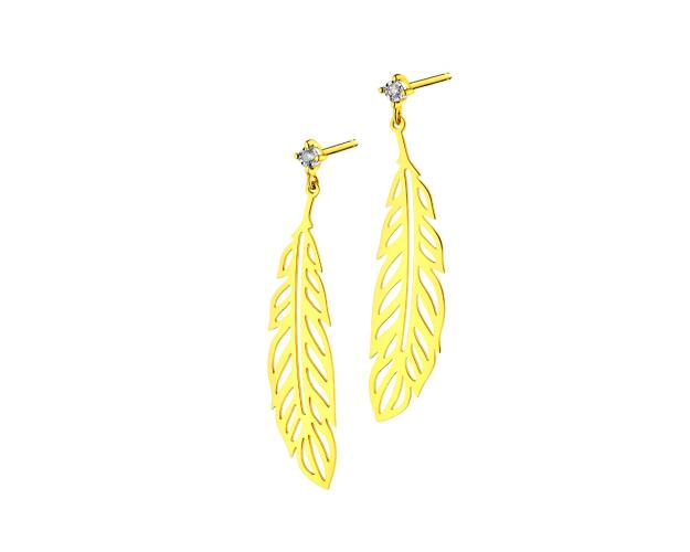 Yellow & White Gold Diamond Earrings - Feathers