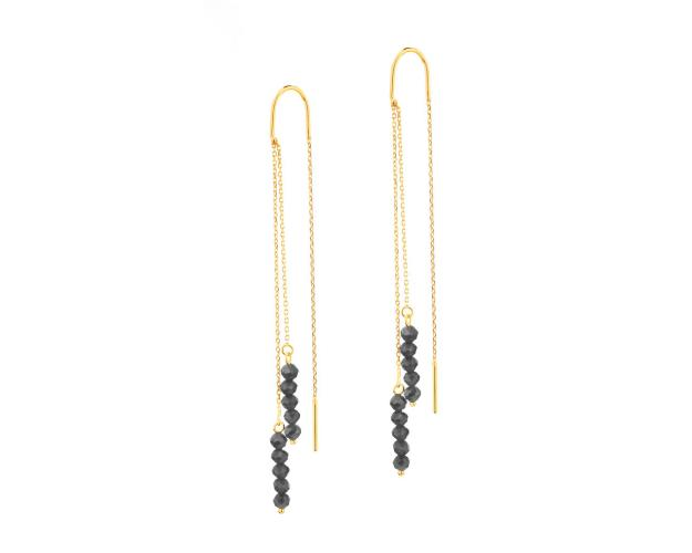 Yellow Gold Earrings with Synthetic Onyx