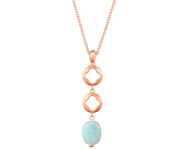 Gold Plated Brass & Aquamarine Necklace