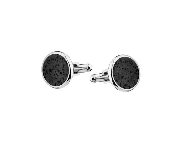 Stainless Steel & Lava Cufflinks