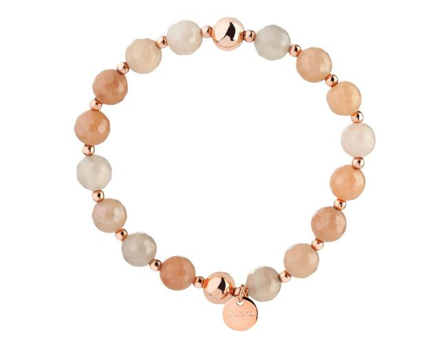 Gold Plated Brass Bracelet with Calcite Beads