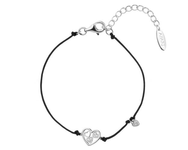 Sterling Silver Bracelet with Cubic Zirconia - Hearts