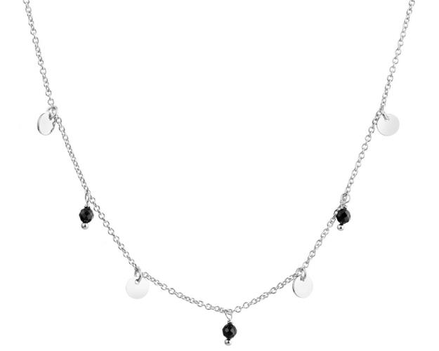 Sterling Silver Round Disc Necklace with Cubic Zirconia