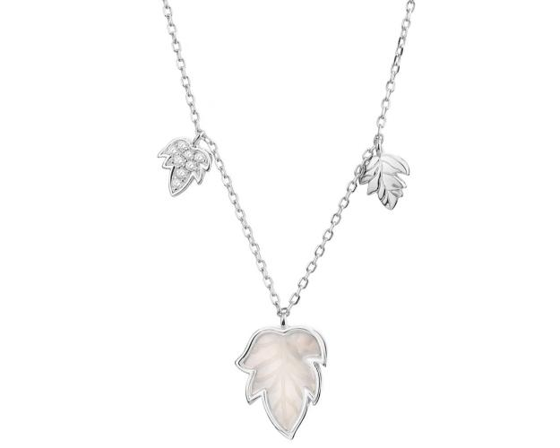 Sterling Silver Necklace with Cubic Zirconia & Mother of Pearl - Leaves