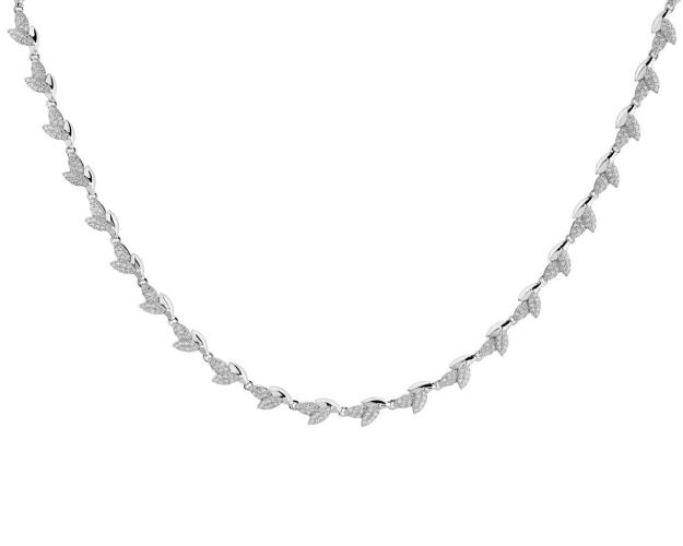 Sterling Silver Leaf Shape Necklace with Cubic Zirconia